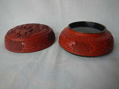 Antique Carved Chinese Cinnabar Lacquer Box Deep Vivid Red Figural Men Checkers 8