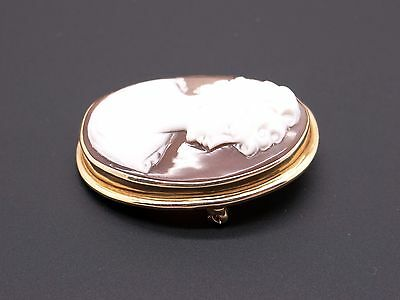 14k Yellow Gold Carved Shell Cameo Woman Portrait Brooch Pin Pendant 2