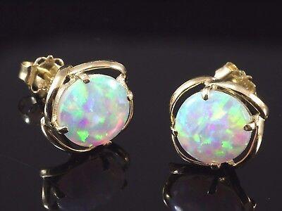 585 Gold Ohrstecker 9,8 mm Größe mit Opalen in Grösse 7,3 mm 1 Paar
