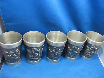 """Lot of Five 4 1/4"""" Antique  German Solid Pewter Embossed & Engraved  Cups Nice"""