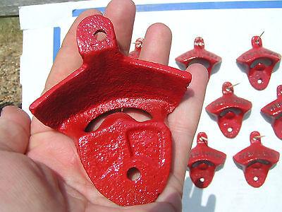 Ten Cast Iron Soda Pop Bottle Openers RED 9