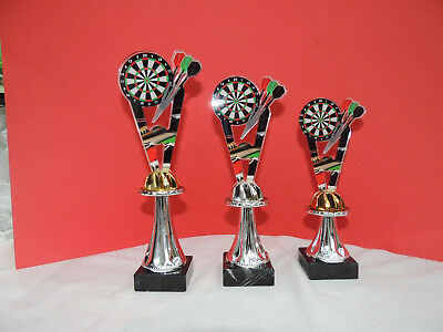 Pokale Pokal 3er Serie BLUE E Dart Darts Pokale gold neu 2019 mit Gravur