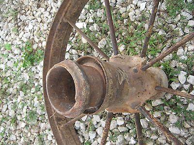"Pair Vintage Rustic Iron Farm Implement Wheel Farm decor 28"" diameter 4"" thick 3"