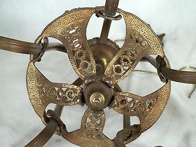 Antique Victorian Art Nouveau Gilt Metal Serpentine Arm 5 Light Chandelier 7