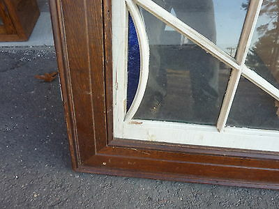 """HUGE gable END stain GLASS arched WINDOW oak FRAME spiderweb design 63 x 43"""" 5"""