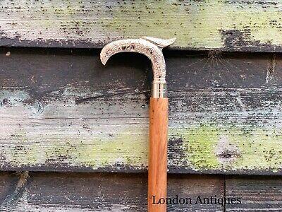Stylish Silver Chrome Derby Men Walking Stick Cane Brown Hardwood Shaft Stick 9