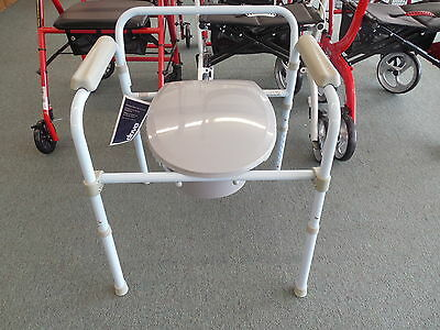 Drive Medical Folding Steel Commode RTL11158KDR Potty Chair ~Free Shipping~NEW 2