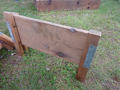 salvaged ANTIQUE WOODEN warehouse factory tray RISER stands galvanized & WOOD 3
