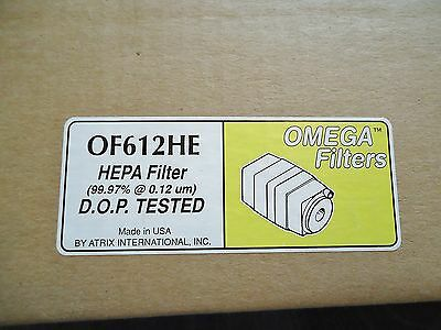 3 New Atrix Of612He Nepa Filter Omega 99.97% @ 0.12 Um, D.o.p. Tested Made In Us