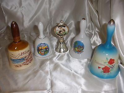 Lot of 6 Collectible Hand Bells Porcelain & Brass FL/TX/ Bahamas/ Virgin Islands