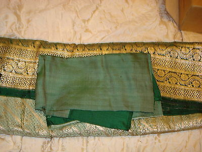 Bn Ladies Green & Gold Banarsee Saree With Heavy Border With Blouse Piece 11