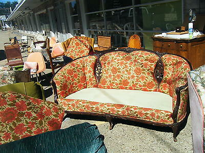 ... Antique Carved Wood And Red Floral Parlor Sofa And Matching Round Back  Chair