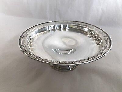 Vintage Revere Silversmiths Sterling Silver Round Pierced Pedestal Bowl Dish 2