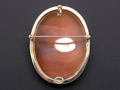 14k Yellow Gold Carved Shell Cameo Woman Portrait Brooch Pin Pendant 4