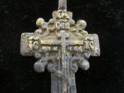 Approx-700 years old - AUTHENTIC LATE MEDIEVAL BRONZE CHRISTIAN CROSS PENDANT 3