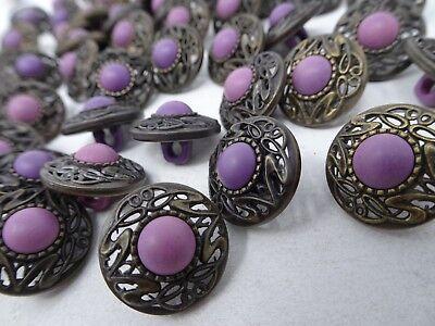 Vtg Ornate Art Deco Faux Purple Rhinestone Shank Buttons 15mm Lot of 8 88-2-11 2