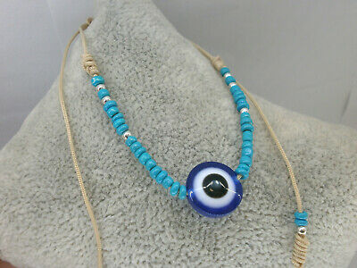 """2019-Pulsera artesanal   """" Evil eye"""" charm de ojo turco con abalorios celestes 2"""