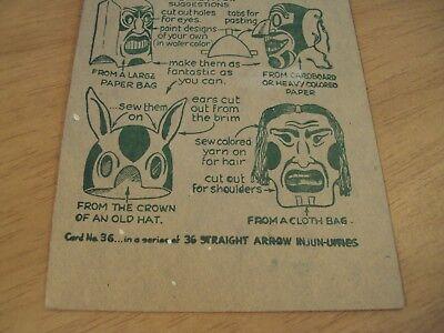 "1952 NABISCO Promo/Premium Card #36 ""STRAIGHT ARROW"" Indian MASKS"