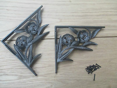 PAIR OF FLOWER  antique Vintage victorian style cast iron shelf brackets 2