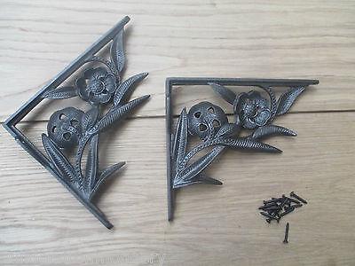 PAIR OF FLOWER  antique Vintage victorian style cast iron shelf brackets 2