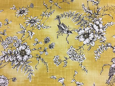 Hawksworth Country Cottage Floral Cotton Grey//yellow  Curtain//Craft Fabric