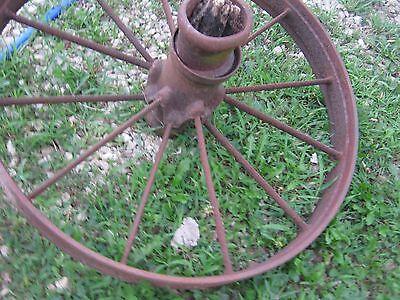 """Vintage Rustic Iron Farm Implement Wheel 32"""" diameter x 4"""" wide Farm decor 4"""