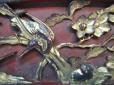 Antique Asian Hand Carved Panel red gold paint flowers birds wall architectural 3