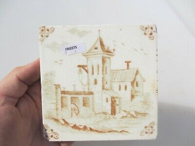 Antique Ceramic Tile Vintage French Village Boats River Windmill Nature Fishing 8