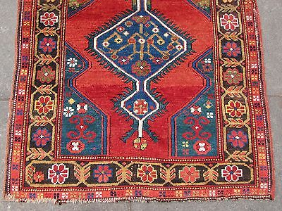 Antique Traditional Hand Made Caucasian Rug Red Green Wool Oriental Rug 142x99cm 3