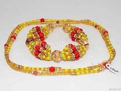 Ilde Santeria Orisha Bracelet & Collar Idde Mazo Oshun Ibu Aña Glass & Coral Ifa