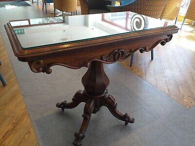 ROSEWOOD tea card console table ANTIQUE circa 1850 Victorian FOLDING swivel TOP 9