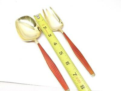 Vtg Sterling Silver J Tostrup Salad Serving Set Spoon Fork Red Enamel Norway 4