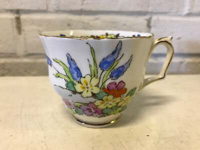 Vintage Crown Staffordshire Porcelain Cup & Saucer w/ Floral Decoration