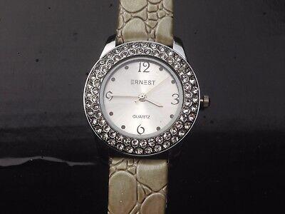 0d5bd3edd0 ... Montre femme ERNEST strass - quartz - Bracelet cuir - Diametre cadran  3.5cm - 3