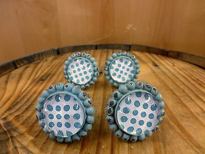 4 BLUE SUN FLOWER GLASS DRAWER CABINET PULLS KNOBS VINTAGE chic garden hardware 4