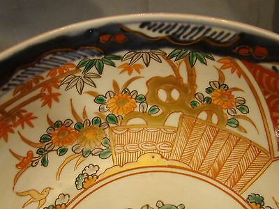 "Antique Japanese 19th Century Meiji Imari Porcelain Large Three Lobes Bowl 9""+ 3"