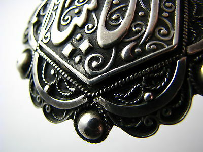 ANTIQUE ARABIC ISLAMIC SILVER BROOCH PIN FILIGREE North Africa Tunisia ca1900's. 9