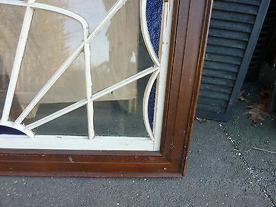 """HUGE gable END stain GLASS arched WINDOW oak FRAME spiderweb design 63 x 43"""" 4"""