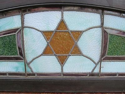 Judaic Antique Stained Glass Transom Window In Frame 4