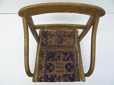 Antique Wood Wooden Blue & Red Oriental Prayer Rug Seat Kids Childrens Chair 6