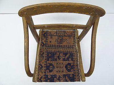 Antique Wood Wooden Blue & Red Oriental Prayer Rug Seat Kids Childrens Chair 6