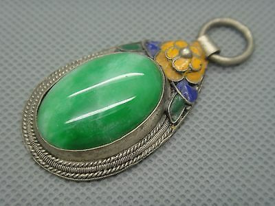 Collectibles Old Decorated Handwork tibet Silver Inlay Jade cloisonne Pendant01 4