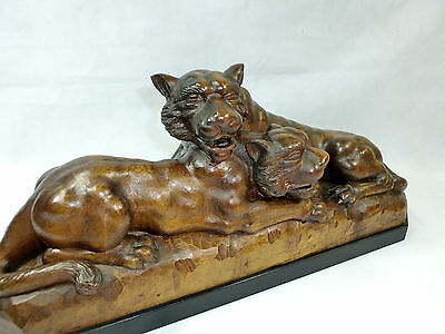 XXL grand geschnitze Sculpture um 1900 LION LIONNE