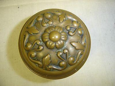 Antique Pair Heavily Embossed Brass Victorian Door Knobs   w/ Nice Patina  7091 4