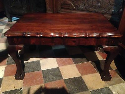 Antique Victorian Carved Gothic Revival Mahogany Coffee Table Side Occasional 5