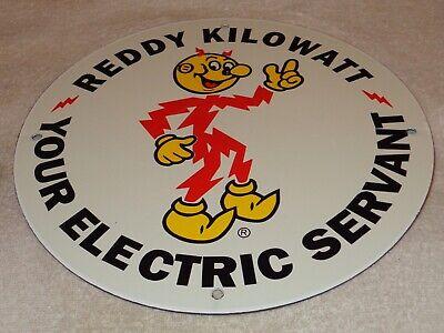 "Vintage ""Reddy Kilowatt Electric Servant"" 11 3/4"" Porcelain Metal Gasoline Sign! 3"