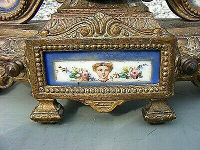 Antique Marti French Mantel Clock Gilt Sevres ? Porcelain Panel Clock 5