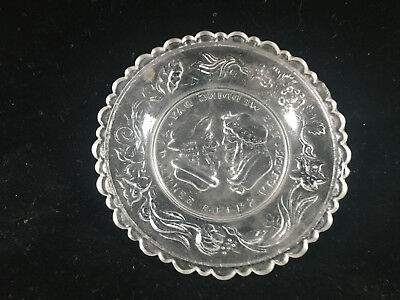 Clear Glass Antique Pressed Glass Small Plate Wedding Day Motto Sandwich 3 Weeks 3