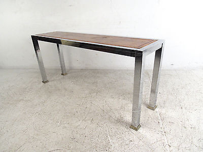 MID-CENTURY MODERN WOOD and Chrome Console Table (5139)NJ ...