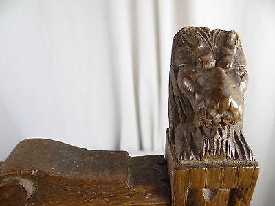 """14"" Antique French Oak Wood Carved Pediment Panel Ornament - Lions 3"